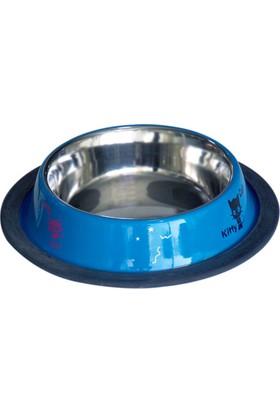 Tommy Kedi Desenli Çelik Mama Kabı Mavi 250 Ml