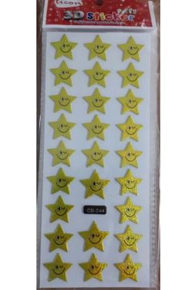 Ticon Gülen Yıldız Stıcker - Yapışkanlı - Cb-244