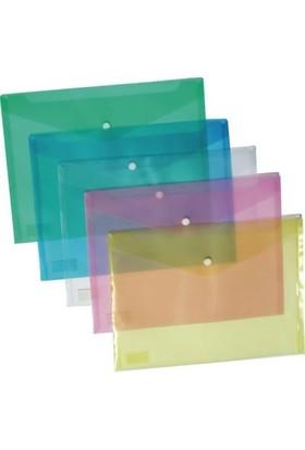 Ticon Mavi Şeffaf A4 Çıtçıtlı Dosya