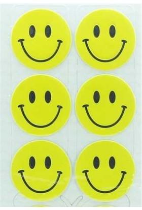 Stc-128 25 Mm Sarı Gülen Yüz Etiket 30 Ad-10-Lu Poşet