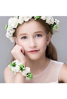 Gelinsacaksesuar Kız Çoçuk Saç Aksesuar,Çoçuk Çiçekli Taç,Prenses Tacı Bileklik