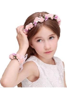 Gelinsacaksesuar Kız Çocuk Saç Aksesuar,Çocuk Çiçekli Taç,Prenses Tacı Bileklik