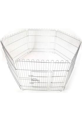 Pet Zone Köpek ve Kediler için Tel Panel Çit 60*63 (6 Panel) Krom