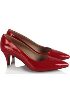 37numara Stiletto Az Topuklu Kırmızı Rugan