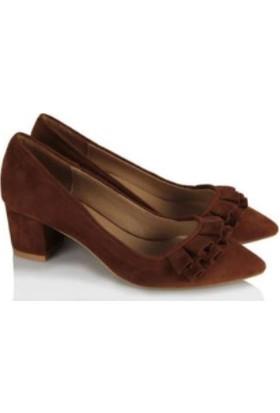 37numara Stiletto Ayakkabı Taba Süet Fırfırlı