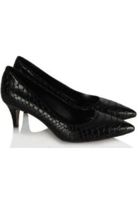 37numara Stiletto Siyah Crocodil Desen Az Topuklu