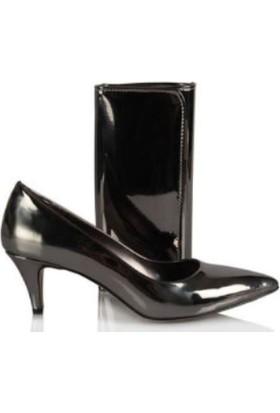 37numara Stiletto Ayakkabı Füme Çanta Takım