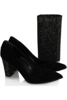 37numara Stiletto Siyah Süet Simli Topuk Çanta Takım