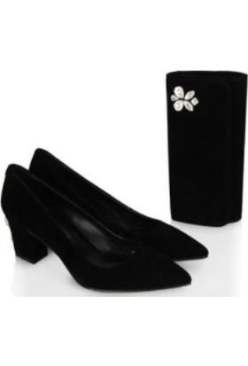 37numara Az Topuklu Siyah Stiletto Taşlı Portföy