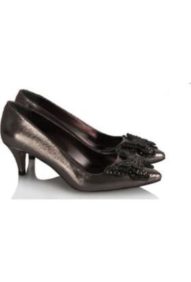 37numara Stiletto Ayakkabı Az Topuklu Füme Yaldızlı Kelebek