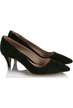 37numara Stiletto Ayakkabı Yeşil Süet