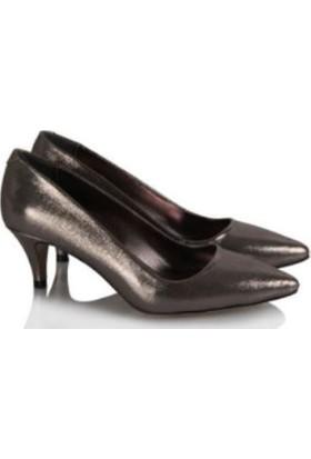37numara Stiletto Ayakkabı Az Topuklu Füme Yaldızlı