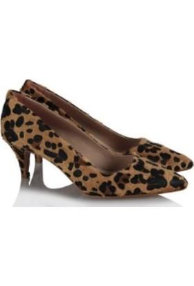 37numara Az Topuklu Stiletto Ayakkabı Leopar