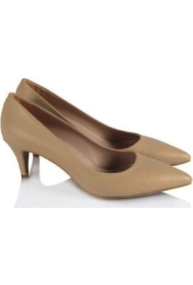 37numara Stiletto Ayakkabı Az Topuklu Ten Rengi