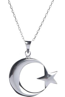 Affix Silver Gümüş Büyük Boy Ay Yıldız Kolye