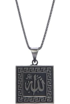 Affix Silver Gümüş Allah Yazılı Yeni Kare Kolye