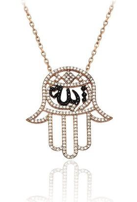 Affix Silver Gümüş Özel Koleksiyon Allah Yazılı Fatma'Nın Eli Kolyesi