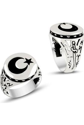 Affix Silver Gümüş Göktürkçe Türk Yazılı Ay Yıldız Yüzük