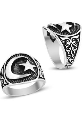 Affix Silver Gümüş Türk Desenli Ay Yıldız Yüzük