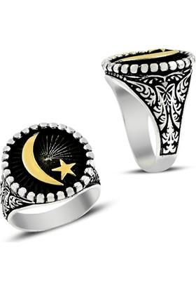 Affix Silver Gümüş Çift Renk Ay Yıldız Model Desenli Yüzük
