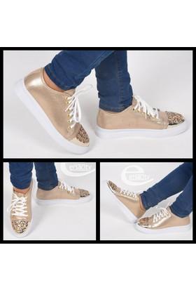 Paddy Altın Sarı Bağcıklı Taşlı Günlük Ortopedik Kadın Ayakkabı