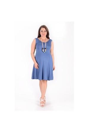 Tepa Gece Mavisi Kolsuz Elbise
