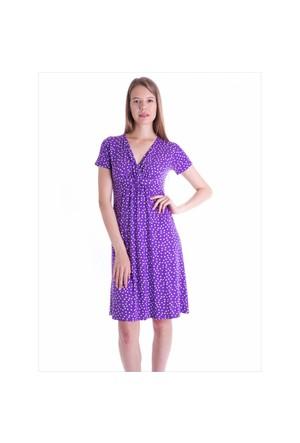 Ayyıldız 59479 Mor Puantiyeli Elbise