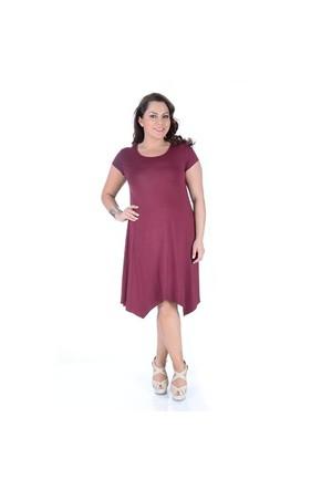 Tepa Bordo Verevli Elbise