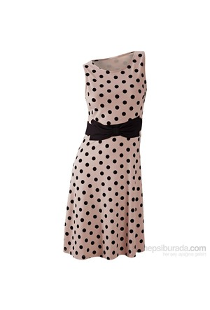 Bodyflirt Kahverengi Puantiyeli Elbise 34-54 Beden