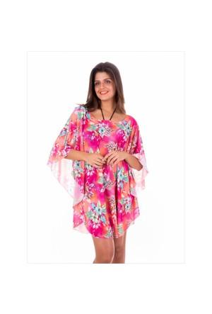 Ayyıldız 30075 Pembe Desenli Kısa Plaj Elbisesi
