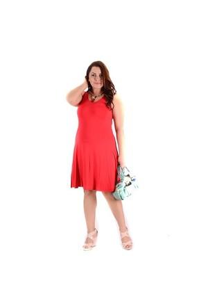 Tepa Kırmızı Kolsuz Elbise