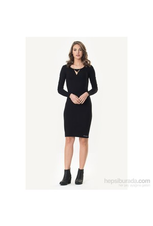 So Sugar Siyah Uzun Kol Sırt Dekolteli Kalem Elbise