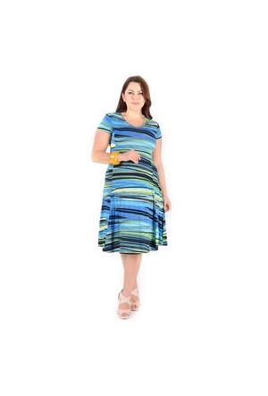 Tepa Mavi Desenli Elbise