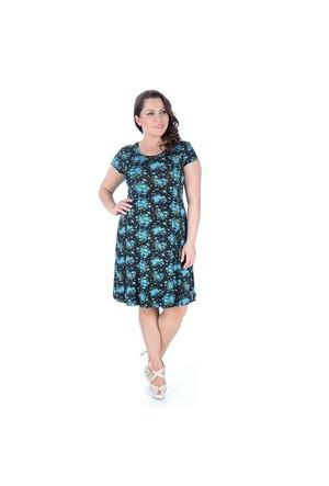Tepa Mavi Çiçekli Elbise
