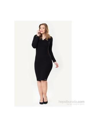 So Sugar Siyah Uzun Kol Mini Penye Elbise
