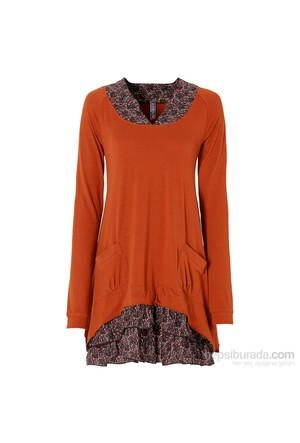 Rainbow Kahverengi Penye Elbise 34-54 Beden