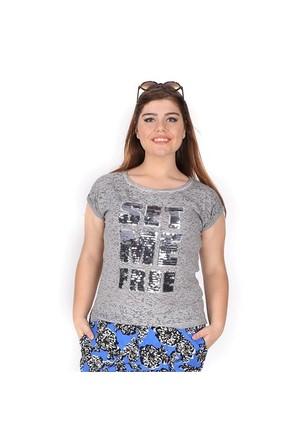 Tepa Gri Pullu T-Shirt 01000112-75