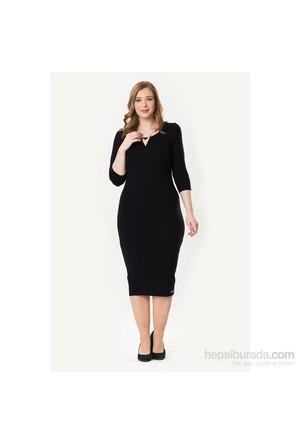 So Sugar Siyah 3-4 Kol Midi Elbise