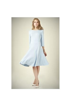 Ervans Eteği Kloş Elbise Bebek Mavisi