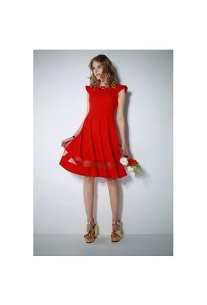 Ervans Eteği Tül Kloş Elbise Kırmızı