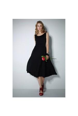 Ervans Midi Boy Kloş Elbise Siyah