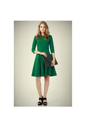 Ervans Eteği Kloş Elbise Yeşil