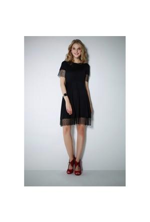 Ervans Eteği Güpürlü Elbise Siyah