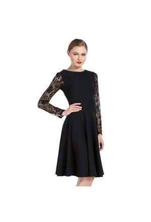 Ervans Kolları Dantel Kloş Elbise Siyah
