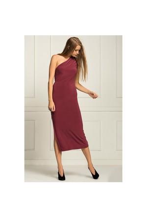 İroni Tek Omuz Yandan Fermuarlı Uzun Vişne Çürüğü Elbise