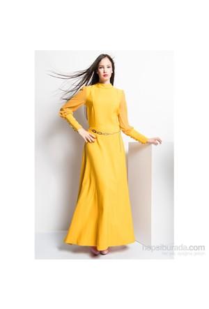 İroni Kolları Şifon Düğmeli Hardal Uzun Elbise