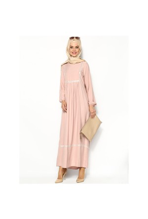 Nakışlı Piliseli Elbise - Pudra - Cml Collection