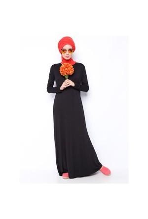 Tek Renk Elbise - Siyah - Everyday Basic