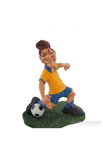 Sarı Lacivert Futbolcu Figürlü Biblo