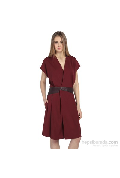 Karahasans Bordo Deri Detaylı Anvelop Elbise
